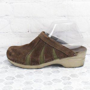 Dansko Brown Green Suede Mules Clogs  Sz 7.5-8